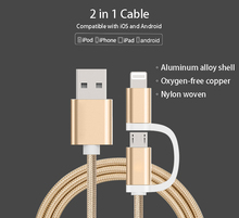 2in1 Dual Connector 1m Fast Charging USB Data Cable for Android iPhone iPad