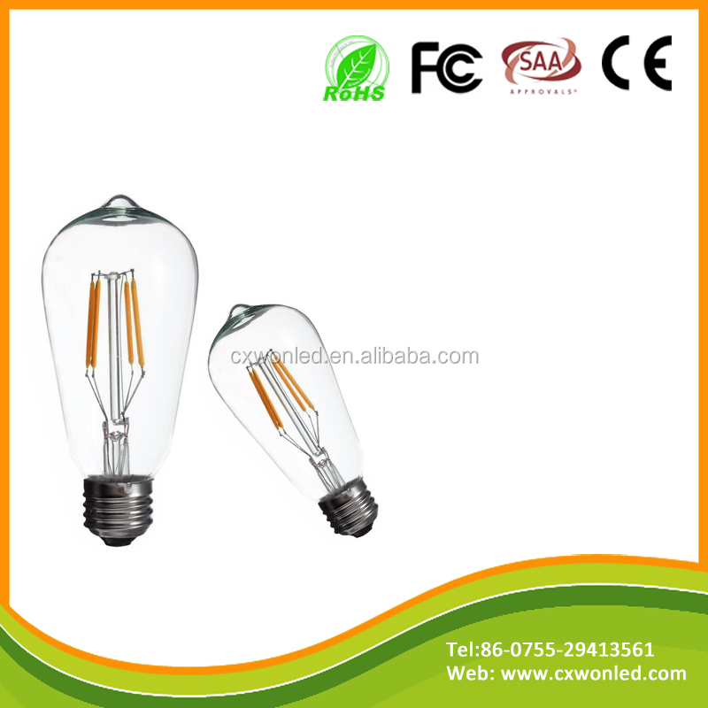 CE rhos Bar home decorative 2w 4w 6w 8w glass style b22 e27 led filament bulb ST64 energy saving bulbs