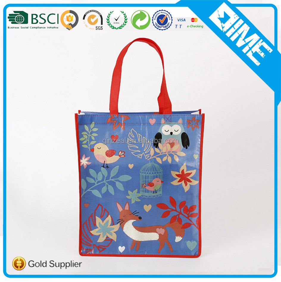 cute design custom laminated promotional non woven shopping bag