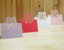 Colorful Love Heart Design Place Name Card Laser Cut Customizable Wedding Table Card