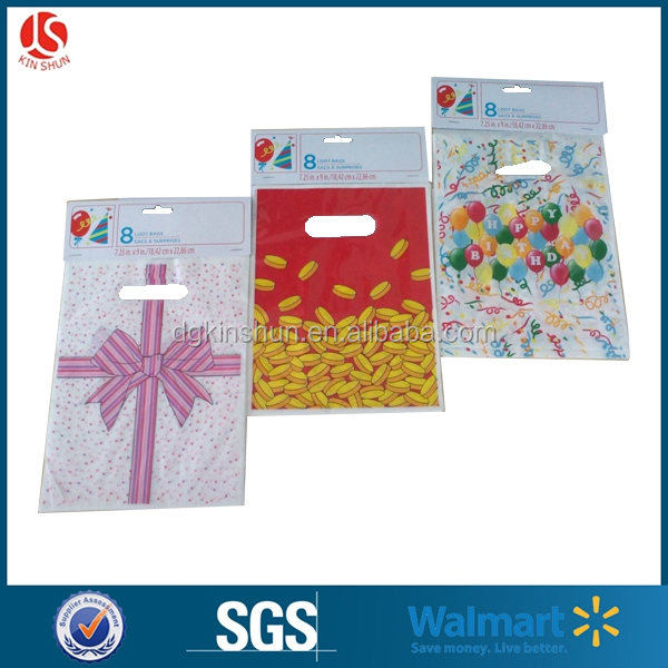 Wal-Mart supplier custom printed cello birthay party favor gift treat goodies bag /loot bag