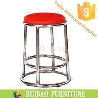Chromed Metal Base Round Barstools Outdoor Cafe Stool