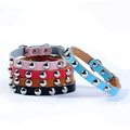 1 Row XS S M L Adjustable Leather Studded Dog Cat Collar