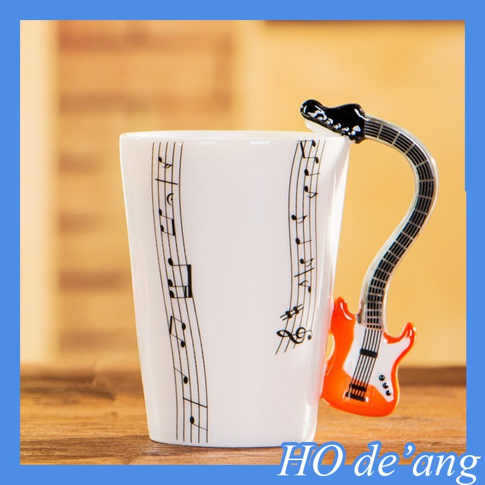2017 New product for promotion gift ceramic music mug with funny handle coffe mug/cup