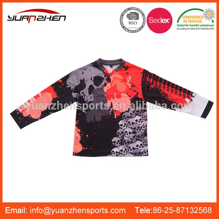 YuanZhen-certificate ISO dry fit custom made long sleeve motorcycle jersey