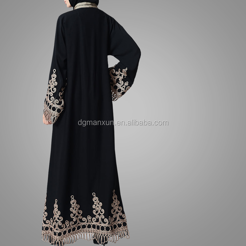 2018 New Design Traditional Laced Embroidered A Line Abaya Dress Long Sleeves Maxi Dress Muslim Clothes