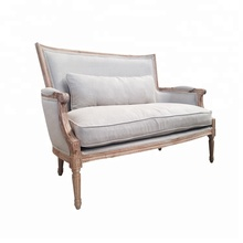 Country style white wash oak wood frame french linen sofa <strong>furniture</strong>
