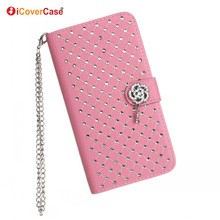 Mobile Phone Bling Rhinestone Diamond Case for Samsung Galaxy Note 3 4 N9000 N9100 Etui Fundas Flip Wallet Cover
