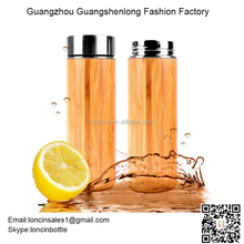 100% Natural Bamboo Water Bottle ,400ML Double wall Insulated Stainless Steel Bamboo Thermos with Tea Infuser set of 2