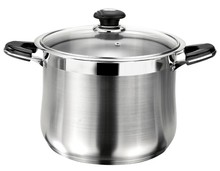 Stock pot cover with glass lid stainless steel belly stock pot belly cookware
