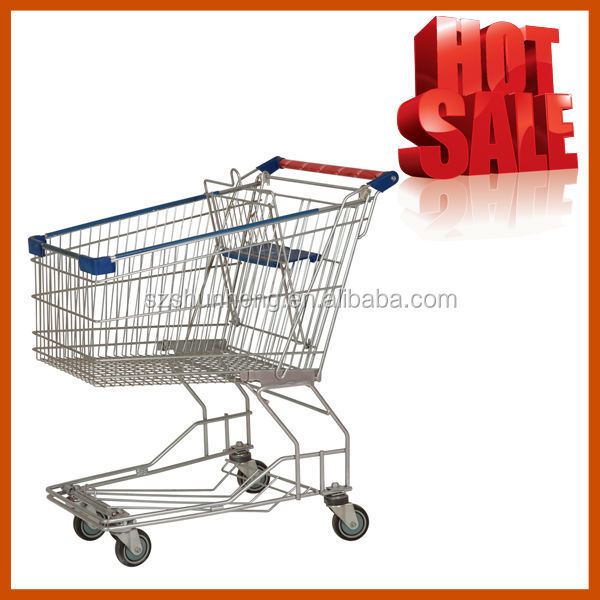 steel foldable shopping cart trolley with 4 wheels(Asia style)