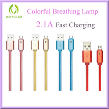 2016 Fashion LED Intelligent Breathing Lamp Data Line With Micro USB Data Cable for Android