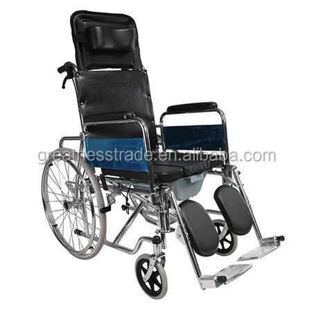 GT02608GC high back reclining steel frame commode manual wheelchair with pull type excrement disc