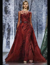 Red Elegant Stand Collar Applique Backless Long Sleeve Embroidery Evening Dress