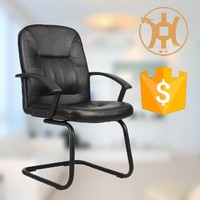 2014 HC-A055V Middle back steel chromed office chairs without wheels