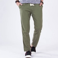 Mens Spring Funky Pants New Fashion Straight Hemp Linen Trousers