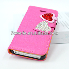 FL2966 2013 Guangzhou new arrival stand daimond heart wallet leather flip case with card slots for iphone 5