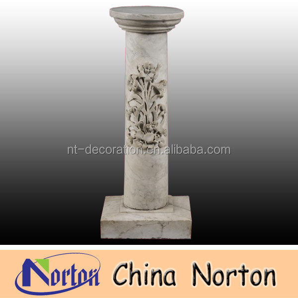 antique carved flowers natural stone column NTMF-C046