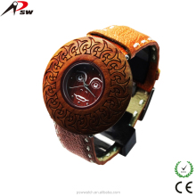 Wholesale wood watch genuine leather strap and wooden wrist watch