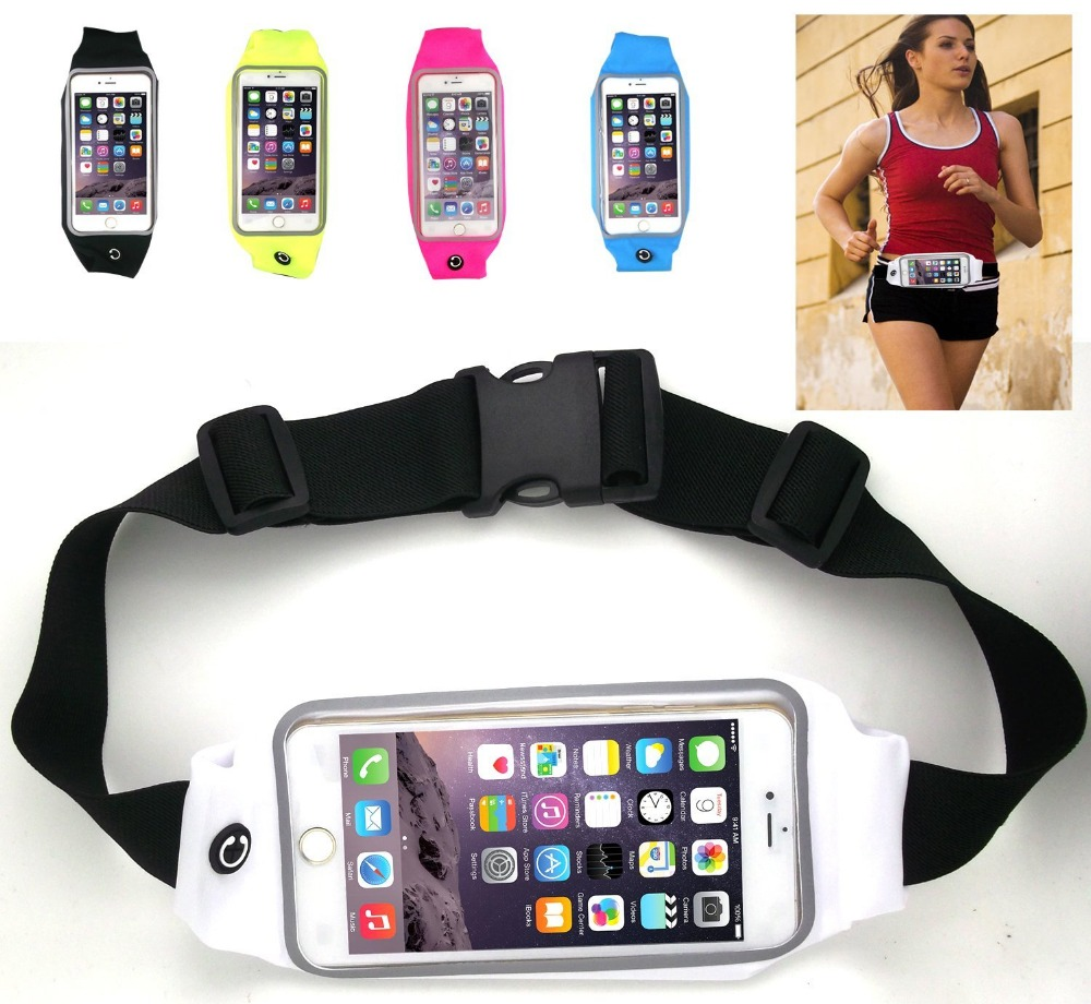 Fashion Universal Running Waist Belt for iPhone 6Plus,Galaxy S5,S6,Note 4/5 w/ OtterBox/LifeProof Cases (Black)