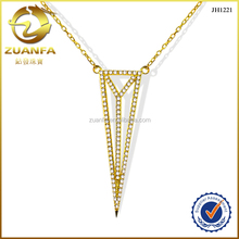 fashion European style 18k gold plated CZ micro paved triangle necklace jewelry