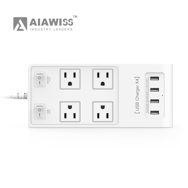 4 Outlet 4Port USB smart Power Strip with switch US plug CE ROSH Certictication Socket Electrical plug extension cord