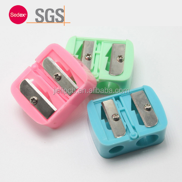 Sofeel High quality eyebrow pencil two holes colorful Lovely Pencil Sharpener