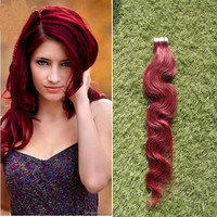hot selling PU Tape Hair Extensions, Human hair Glue Skin Weft, red Virgin Body Wave Hair Skin Weft