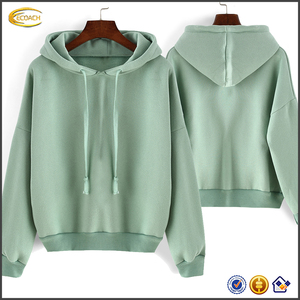 Ecoach hoodie manufacturer Adult Green Hooded Long Sleeve Loose Crop Outerwear 100%cotton wholesale Sweatshirt