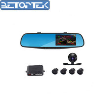 3in1 car rearview mirror DVR with car backup camera and video parking sensor