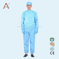 LABY-007-1-2A esd smock Blue color antistatic fabric cleanroom garment