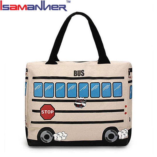 Zipper cartoon bus design canvas tote bag large women travel hand bags