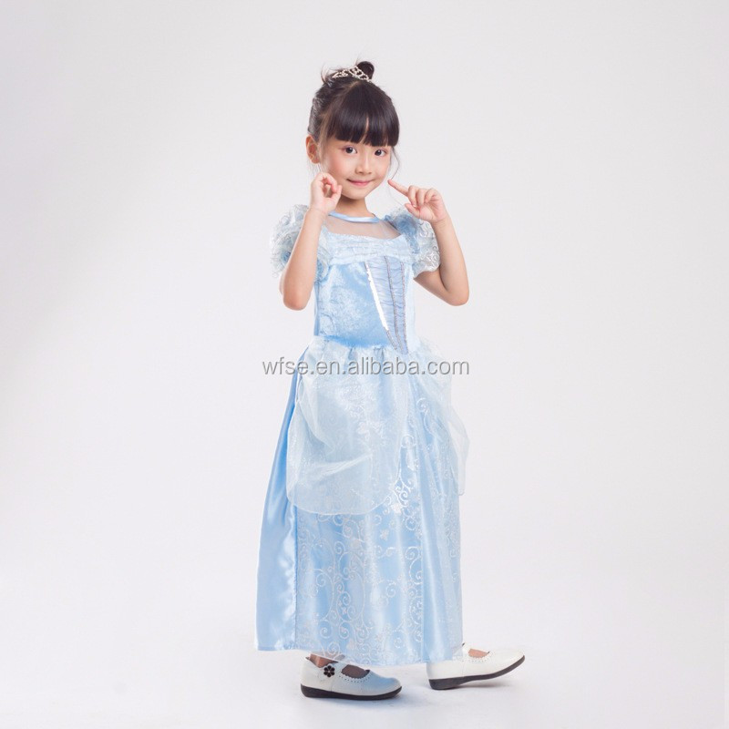 Fairy Tale Princess Kids Cinderella Dress Cinderella Cosplay Costume Floor-length Fancy Dress for Child Halloween Costume