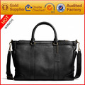 Custom made Black Leather Tote bag with single Shoulder strap for Man Factory Wholesale