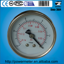 Dial size 63mm pressure gauge manometer for milk machine -0.14 psi and -10 mbar