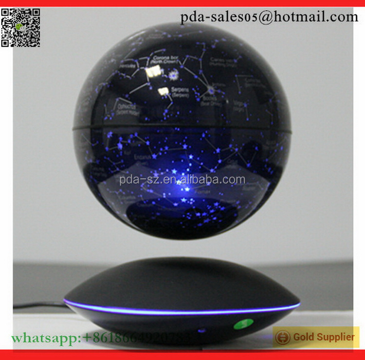 magnetic levitating floating bottom starry 6 inch globe with ufo base