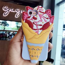 3D Cartoon Cupcakes Ice Cream Soft Silicone Phone Case for iPhone 6 6S Plus 7 7 Plus Shockproof Cover Shockproof Fundas Coque