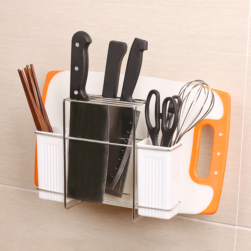 Kitchen Utensil Storage Shelves Stainless Steel Cutting Board Rack Chosptick Fork Knife Holder