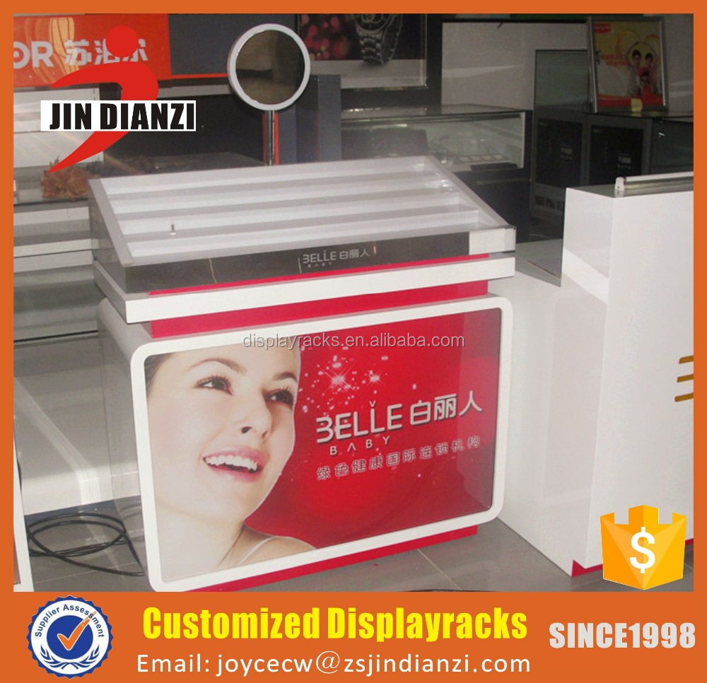 Factory price makeup counter with mirror and aryclic display