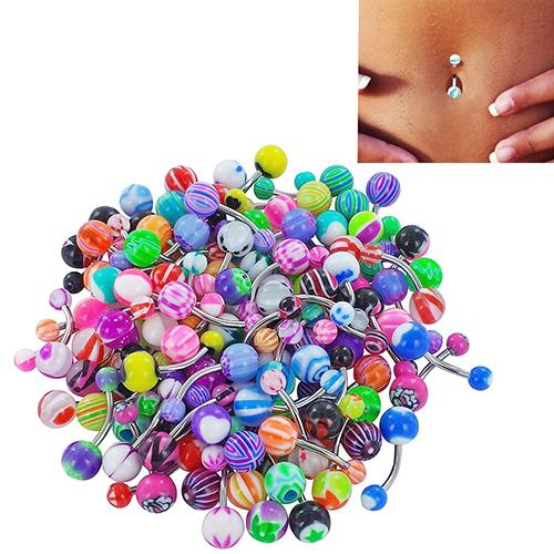 Colorful Sexy Belly Bars Body Piercing Jewelry Mixed Colors Acrylic Belly Button Rings