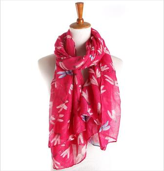Wholesale Fashionable Women Dragonfly Print Pattern Long Scarf Warm Shawl Fashion Scarves
