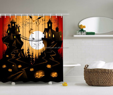 Top one digital print double swag Haloween shower curtain