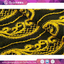 Multi Colors Black Yellow Pattern Cotton Wedding Dressed Bridal Cheap Lace Fabric