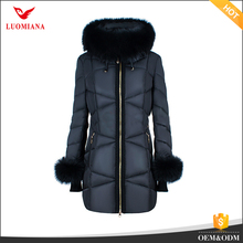 Russia black fur collar new fashion style fur sleeve and hood winter clothing for womens winter jackets coat