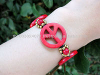 Bracelet Handmade Large Red Peaceful & Brass Bead in Thailand Fair Trade Jewelry