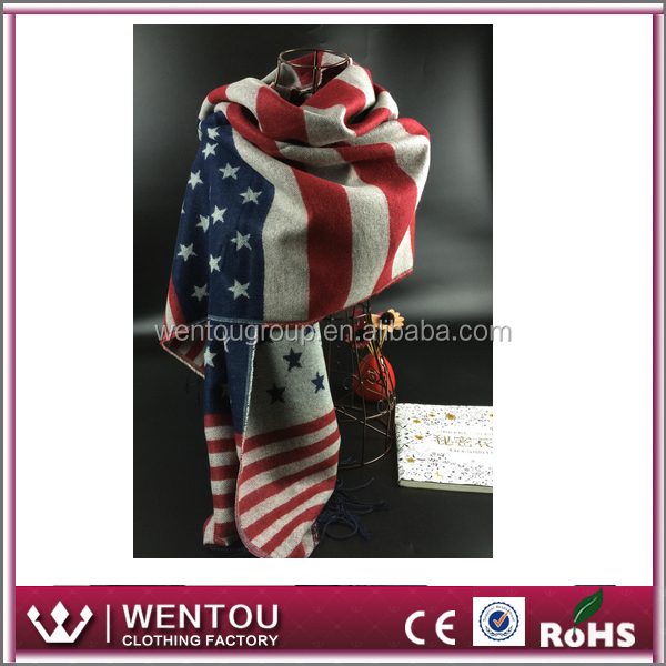 American Star and Trip Firnge Acrylic Flag Scarf