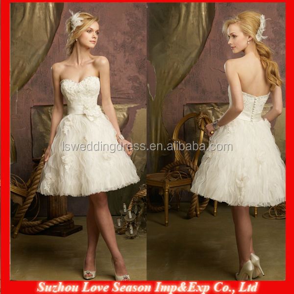 WD4265 sexy cute short mini white sweet heart wedding dress for mature bride short wedding dress