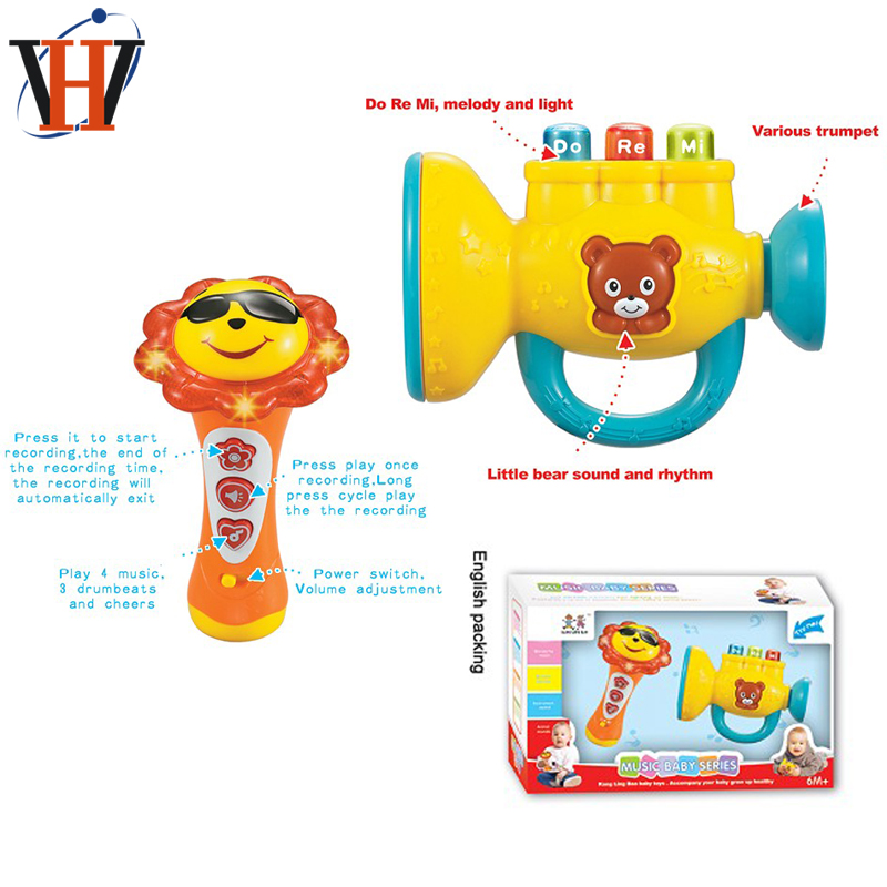 Baby toy music plastic trumpet and recording kids microphone toy