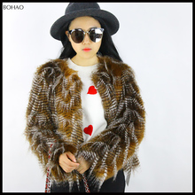 New Desgin Peacock Fur Coat Faux Fur Woman