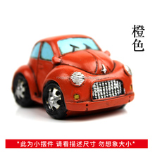 ROOGO Christmas decoration miniature resin vintage style automobile double decker bus toy car